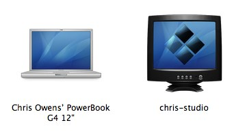 Powerbook next to Windows in Leopard Networking